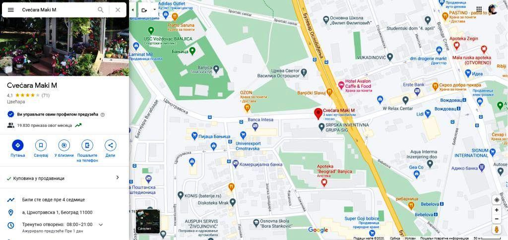 Google map Cvecara Maki M