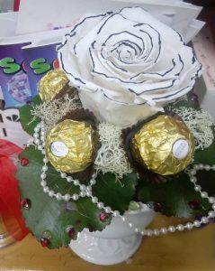 Dehidrirana ruža 3 aranžman - bela